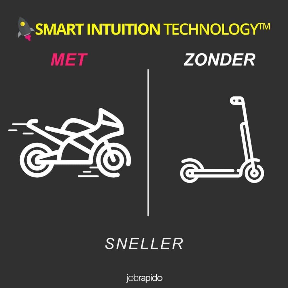 Waarom zou je kiezen voor Jobrapido ' s Smart Intuition Technology? Omdat het een complete set resultaten biedt bij het zoeken naar een baan.